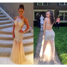 Stunning Beaded Sheer Tulle Celebrity Open Back Prom Long Evening Dresses