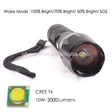 Lúmenes de T6 / 10W-2000, la linterna de aluminio más potente del LED con la batería 18650