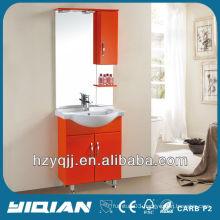Hot Sale Free Standing Iraqi & Turkish Simple Design With Cupboards Gloss Orange Bathroom Cabinet MDF Bathroom Vanity
