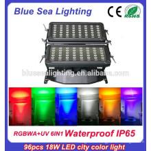 Super 96pcs 18w IP65 6 в 1 rgbwauv dmx rgb светодиодная настенная стиральная машина