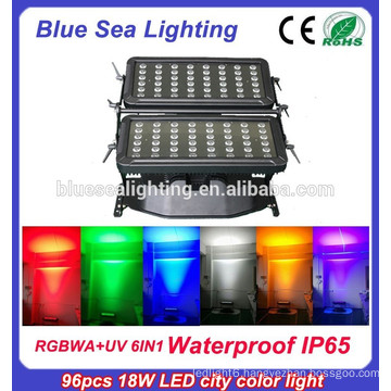 96pcs 18w 6 in 1 rgbwauv ip65 led outdoor christmas flood lighting