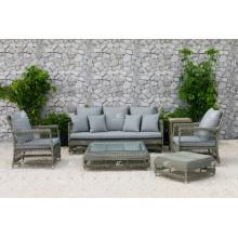 DEVON COLLECTION - Juego de sofá sintético de rotén al aire libre