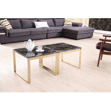 Modern Glossy Titanium+Marble Corner Table