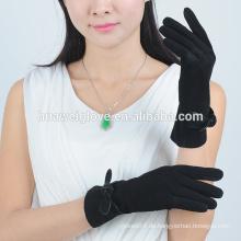 Schwarze Wildleder-Damen Lederhandschuhe, handgefertigte Bowknot verzieren Lederhandschuhe