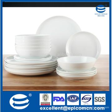 Productos excelentes del hogar, cena blanca de la porcelana 18pcs fijada para el hotel, cena al por mayor fijada
