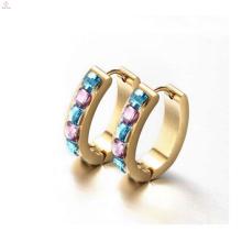 Gold diamond huggie earrings,round huggie earrings with diamonds