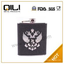 Glittre leather stainless steel ukraine hip flask