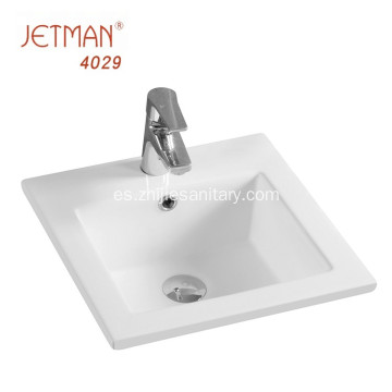 lavabo decorativo de cerámica de borde fino rectangular
