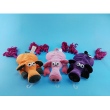 Piggy Cuttom Rope Toy with Squeaker for Pets Play