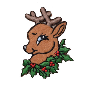 Reindeer Christmas Head dengan Holly Wreath Patch