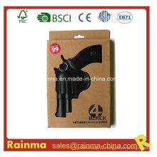 Schwarzes PVC-Notizbuch aus Papier mit Pistolenform