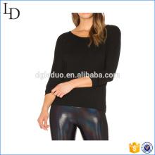 Zurück Cut-Out Custom T Shirt Frauen Baumwolle Langarm-Shirt