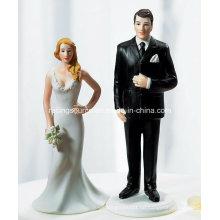 Hochzeits-Harz-Braut und großer Bräutigam-Figürchen-Kuchen-Deckel