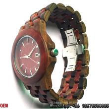 Top-Qualität rot Sandelholz und schwarz Holz Quarz Uhren hl01