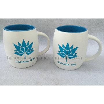 Sandblast Ceramic Mug with Color Filled