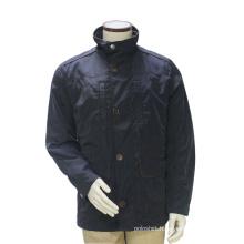 Men′s Long Winter Stand Collar Pea Coat Navy Blue Windbreak Outdoor Suit Jacket