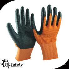 13-дюймовые трикотажные оранжевые черные нитриловые перчатки с покрытием U3 / строительные перчатки