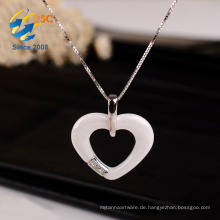 Günstige neue Design personalisierte Kostüm Porzellan Herz Erinnerung Silber Halskette Schmuck