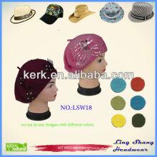 100% lã Chapéus baratos promocionais do chapéu da malha chapéus cor-de-rosa dos chapéus dos chapéus, LSW18