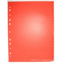 20 pages couleur rouge PP Index diviseur avec anglais imprimé (BJ-9028)