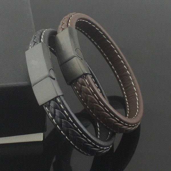Magnetic Clasp With Braided Leather Bracelet