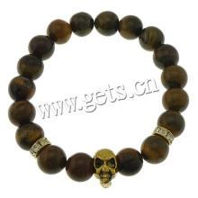 2015 Gets.com Tiger Eye Stone Браслеты Эластичная резьба и железный и цинковый сплав черепа