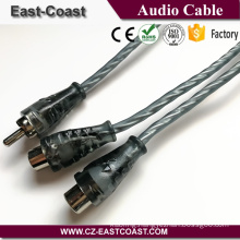Transparent rca cable 1x male to 2x female Y splitter car audio cable