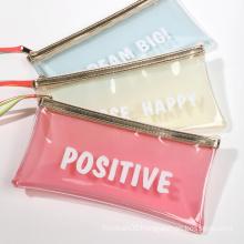 Stationery Zipper Bag Custom Plastic Frosted Clear Pencil Bag PVC PEVA TPU Jelly Transparent Pencil Case