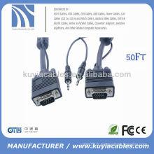 Câble vidéo VGA HDDB15 mâle à mâle plus câble stéréo mâle-mâle 3,5 mm