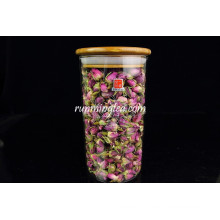 Couvercle en bambou Caisse de verre à café à base de borosilicate droite et haute