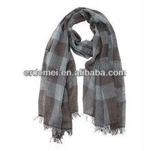 Men's grid 100% cotton voile scarf