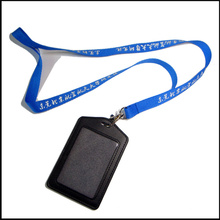 Firma Leder PU Name / ID Karte Abzeichen Reel Inhaber benutzerdefinierte Lanyard mit Clips (NLC008)