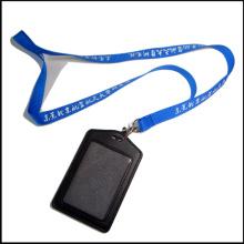 La lanière faite sur commande de titulaire de bobine de badge en cuir d'unité centrale de nom / d'unité d'identification de cuir avec des agrafes (NLC008)