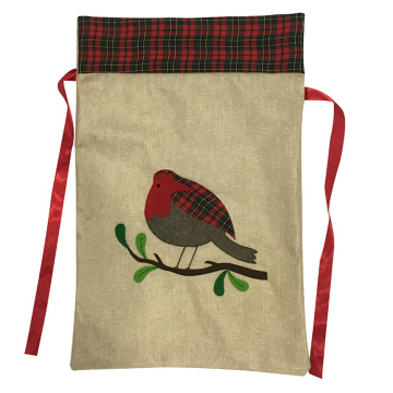 Tartan Trim Hessian Christmas Xmas Sack Cuckoo