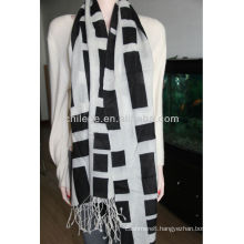 Worsted Mercerized wool printed scarf shawl
