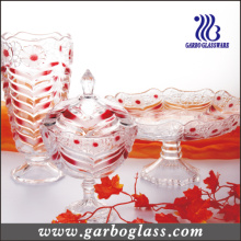 Ensemble de verre coloré au diamant 3PCS de jarre et de plat de vase et de bonbon