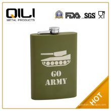 FDA 12oz verde oliva (verde militar) frasco con revestimiento de goma gruesa