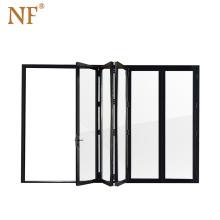 Latest Designs Front Aluminum Alloy Clad Wooden Glass Folding Door
