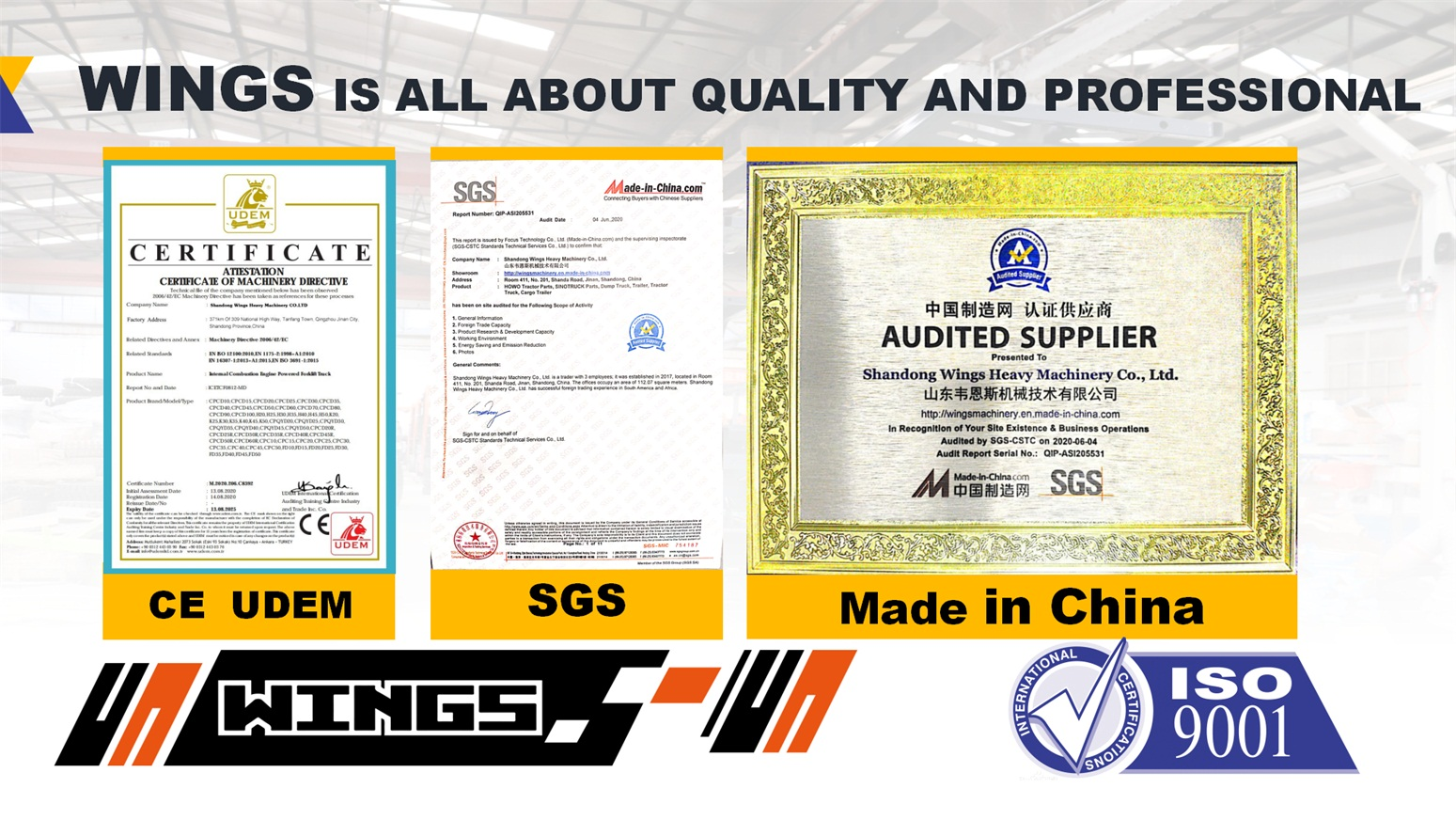 WINGS MACHINERY Certification