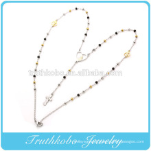 China Manufacturer Model Stainless Steel two tone 3mm rosary Chain the Virgin Mary heart shape Pendant and cross necklace