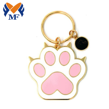 Cat Kucing Custom Metal Paw Mom Enamel Keychain
