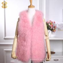 Medio-largo de color rosa Real Turquía pluma chaleco de piel de señoras