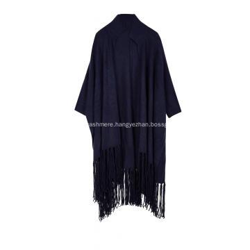 Women's Knitted Elastic Fringes Tassels Hem Poncho Cape