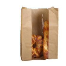 Food kraft paper bags brwon paper bag with printed bread packing kraft paper bag with window