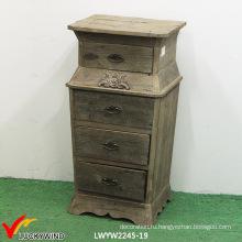 Цветочные резные 4 ящика Деревянный шкаф для хранения документов