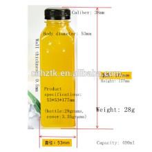 Quadratische Saftflasche / 400ml PET-Saftflaschen / Hochwertige, dicke Aluminium-Getränkeflaschen