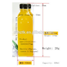 Square juice bottle / 400ml PET juice bottles / High-grade thick aluminum lid beverage bottles