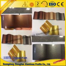 Profilé de tuyau en aluminium Customerzied avec des couleurs d'électrophorèse en cristal