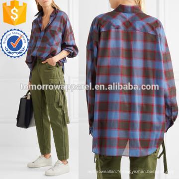 Chemise en laine mélangée à carreaux surdimensionnée Fabrication en gros Vêtements pour femmes (TA4130B)