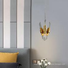 Lustre LED en verre doré de chambre à coucher de conception artistique